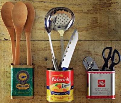 decoração cozinha reciclavel porta talheres organização sutentabilidade reciclagem lata