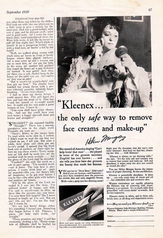 Kleenex, True Romance advertising 1930