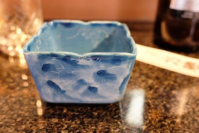 Square blue dish at Sushi Noike, Sendagi, Tokyo.