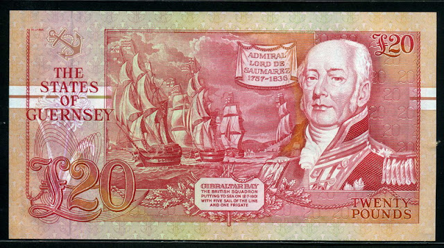 British banknotes Guernsey £20 pounds money currency, Admiral  Lord de Saumarez