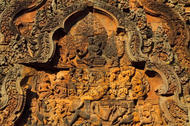 Intricate carvings on Banteay Srei temple walls