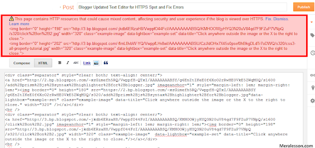 Blogger Updated Text Editor for HTTPS Spot and Fix Errors
