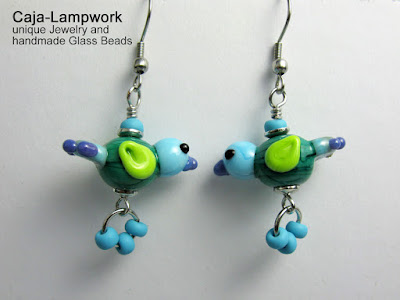 Türkise Glasvogel Ohrringe, Lampwork Vögel