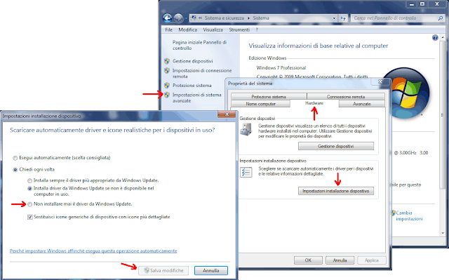 Finestra Windows 7 Impostazioni installazione dispositivo