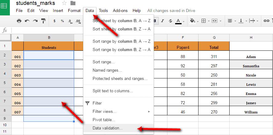 Create A Drop down List In Google Sheets