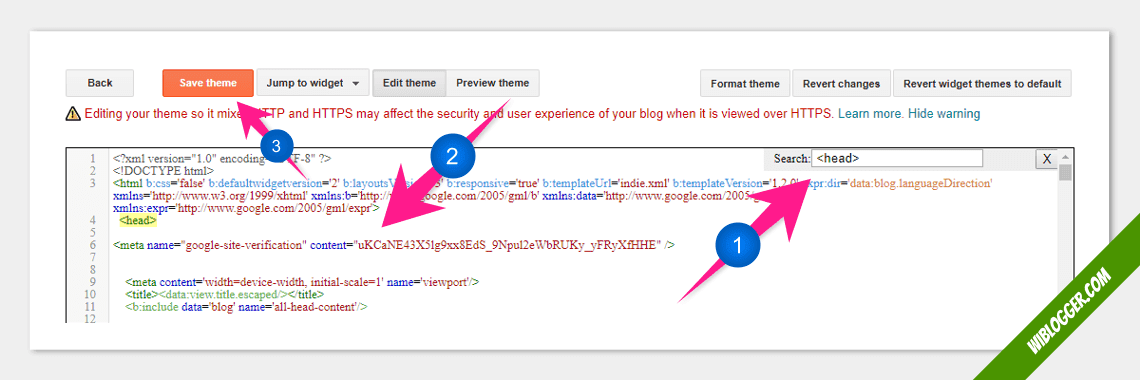 verifikasi google search console di blogger