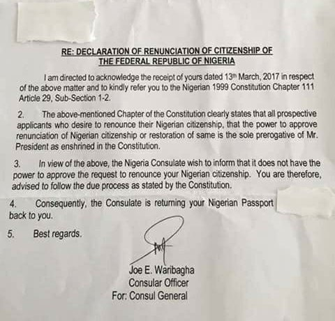 See the response a Nigerian man who is based in Germany got after he wrote to the Nigerian consulate renouncing his citizenship