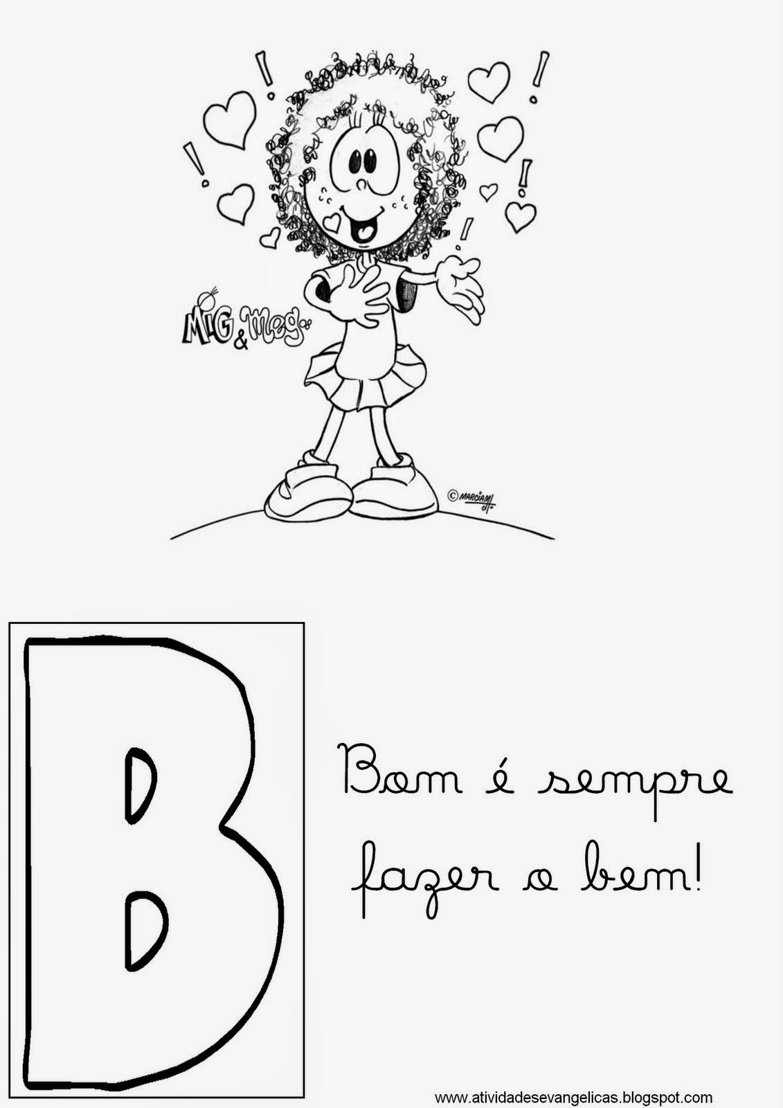 Alfabeto Mig E Meg Com Mensagens Biblicas Para Colorir Pintar