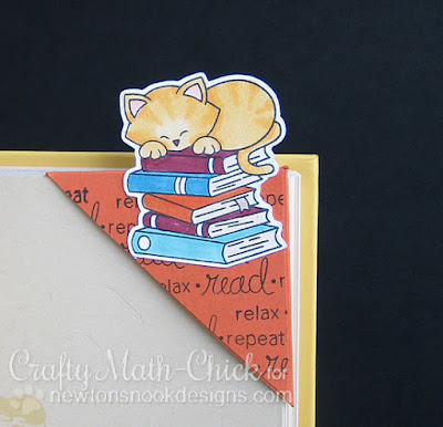 Newton kitty corner bookmark by Crafty Math Chick | Newton's Book Club stamp set by Newton's Nook Designs