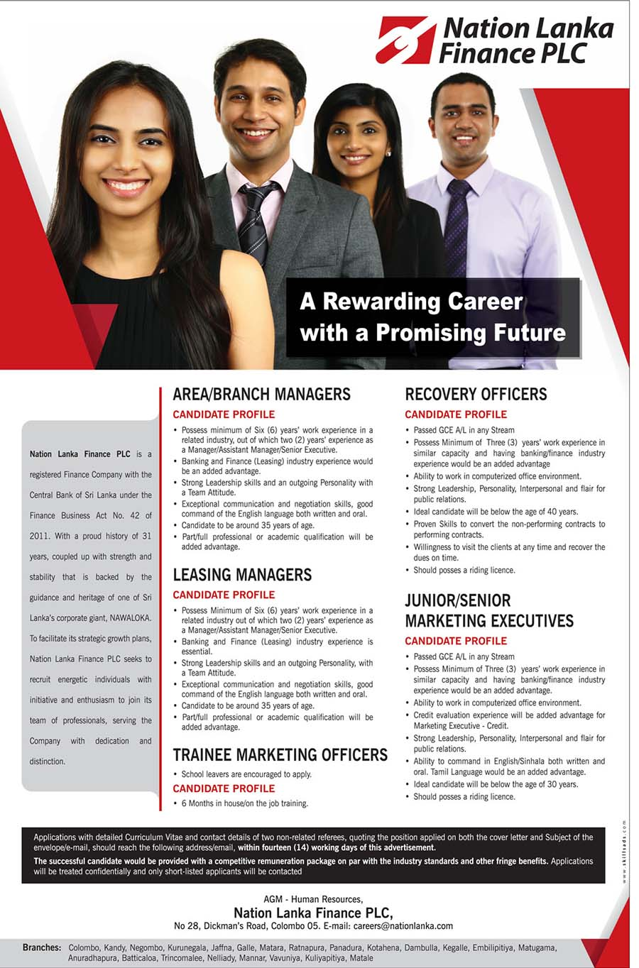Marketing Executive, Recovery Officer, Trainee Marketing Officer, Leasing Manager, Area/Branch manager Vacancies at Nation Lanka Finance PLC
