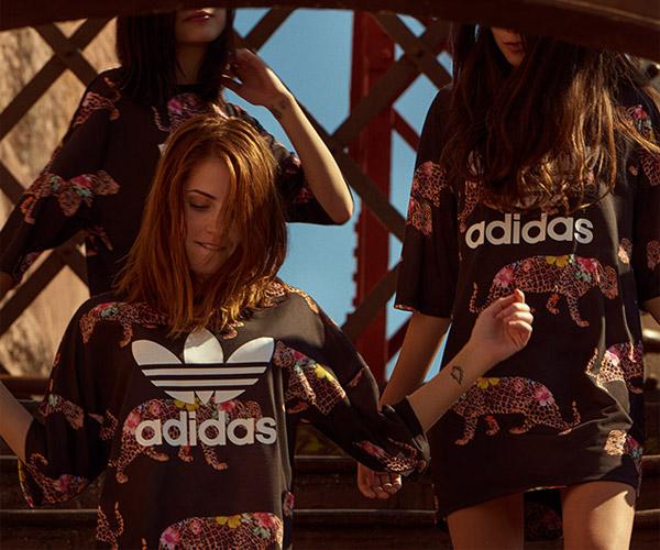 Farm e Adidas Originals quinta coleção blusa moletom e vestido onçada