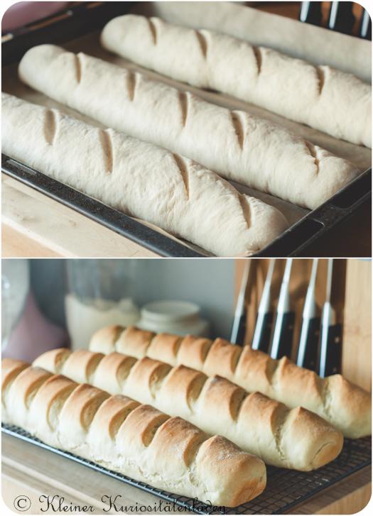 Fertige Teiglinge vor dem Backen und gebackene Kaviarbrote