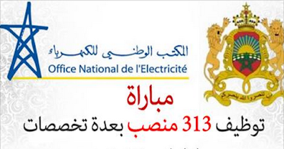 المكتب الوطني للكهرباء : مباراة توظيف 313 بعدة تخصصات