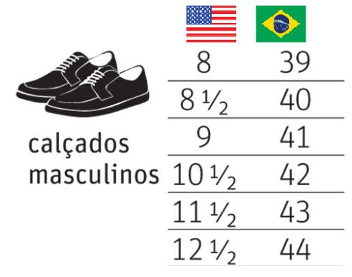 Numeração de calçados masculinos nos EUA