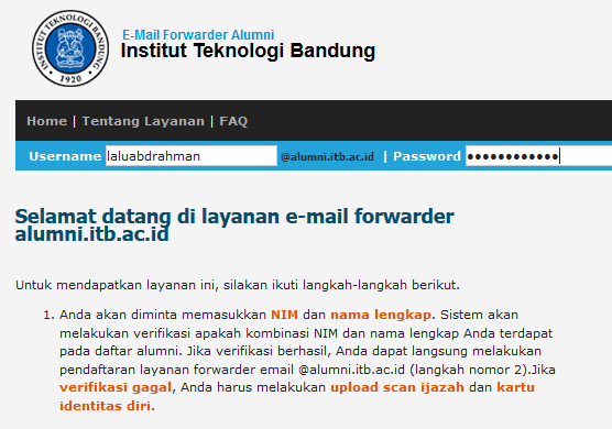 Email Alumni ITB (E-mail Forwarder)