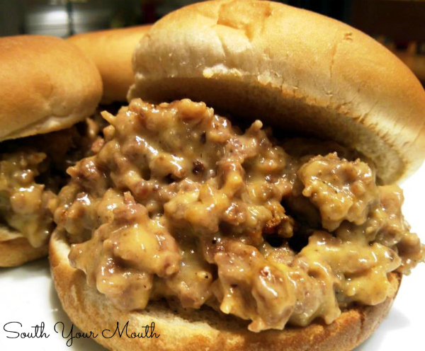 WHITE TRASH SLIDERS! An easy appetizer recipe for cheesy sliders made with ground beef, pork sausage and Velveeta