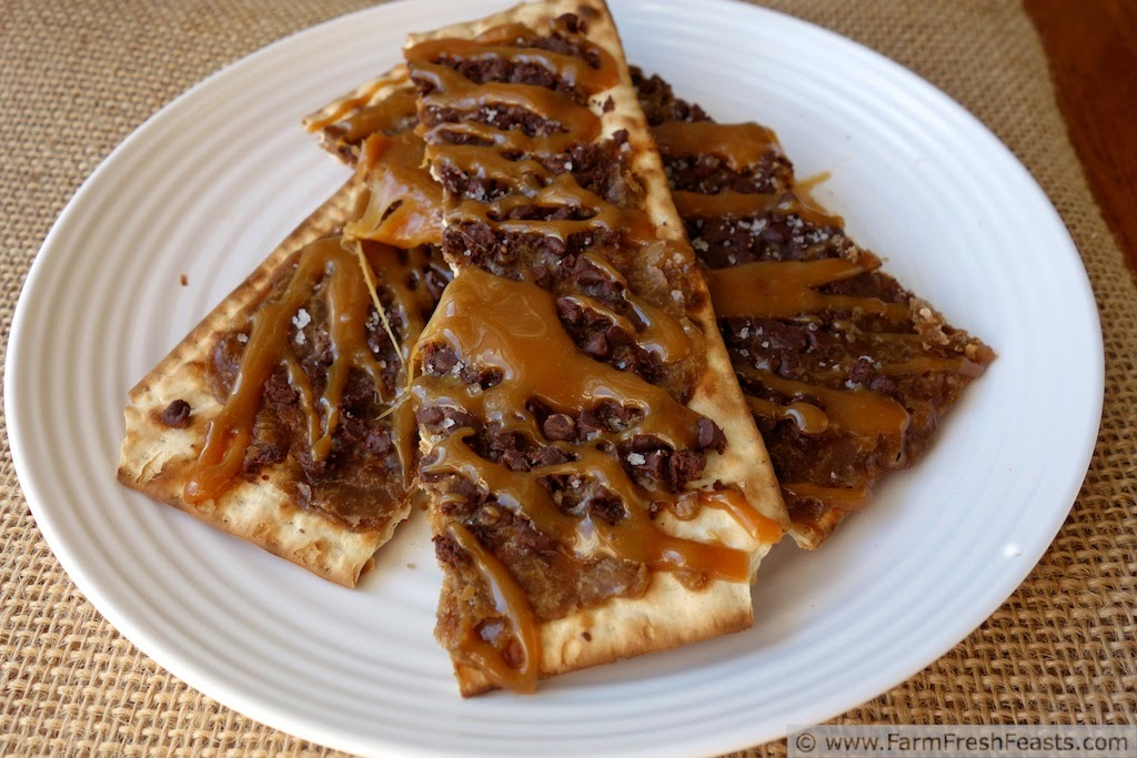 Got leftover matzoh?  Make a decadent dessert! This buttery toffee is topped with caramel and sea salt for an irresistible treat.