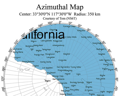 Azimuthal map from Orange County to launch site (Source: Tom at https://ns6t.net/azimuth/)