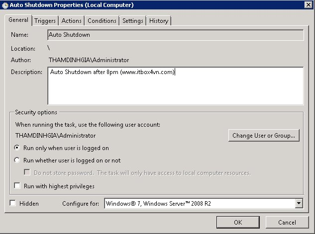 How To Schedule Windows Server 2003/2008 Shutdown or Restart