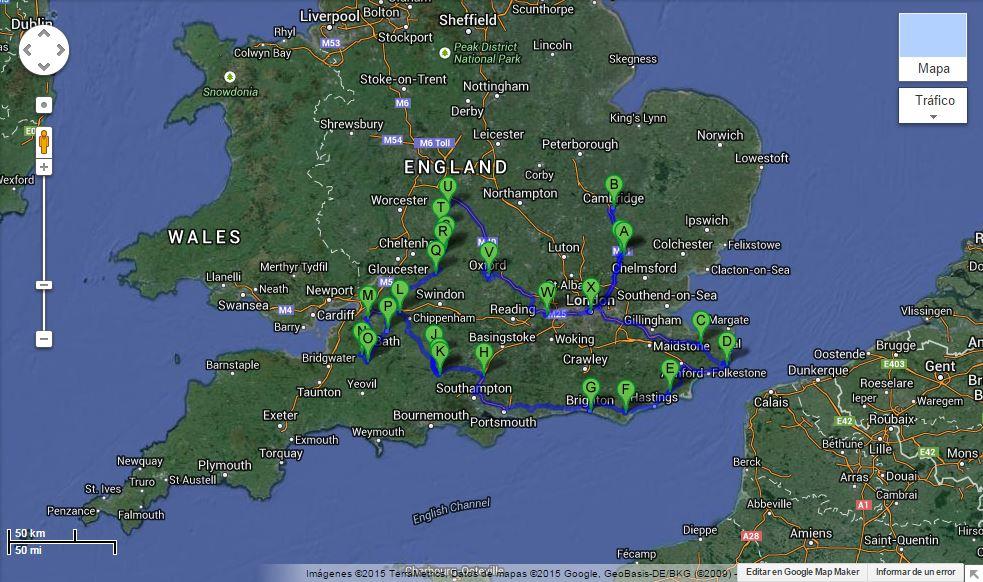 Mapa itinerario 13 días por el sur de Inglaterra