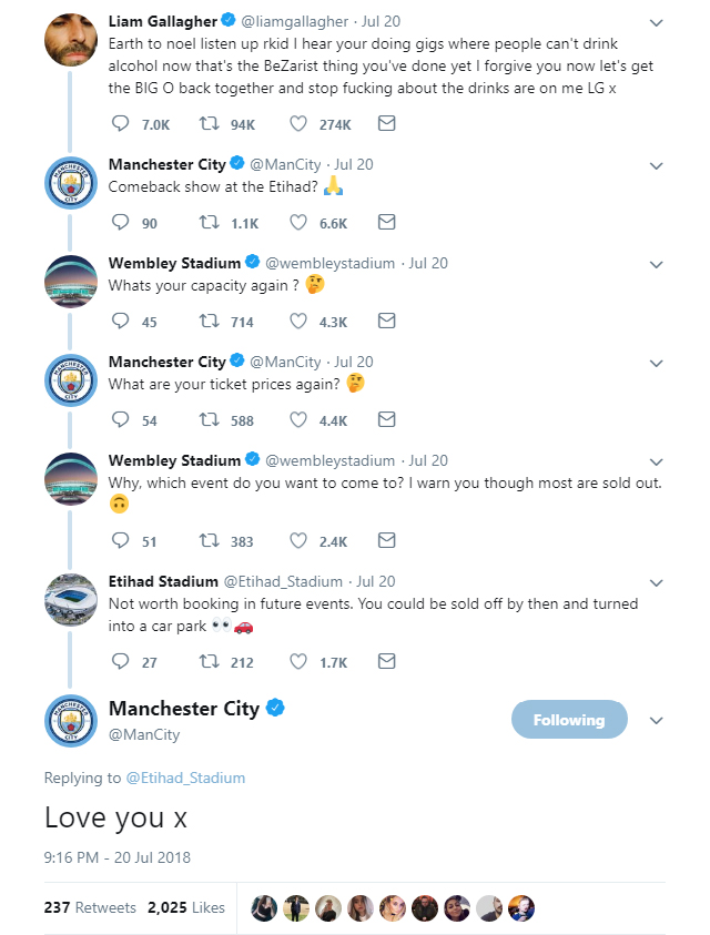 Manchester City claim the bragging rights in an hilarious Twitter exchange with Wembley Stadium