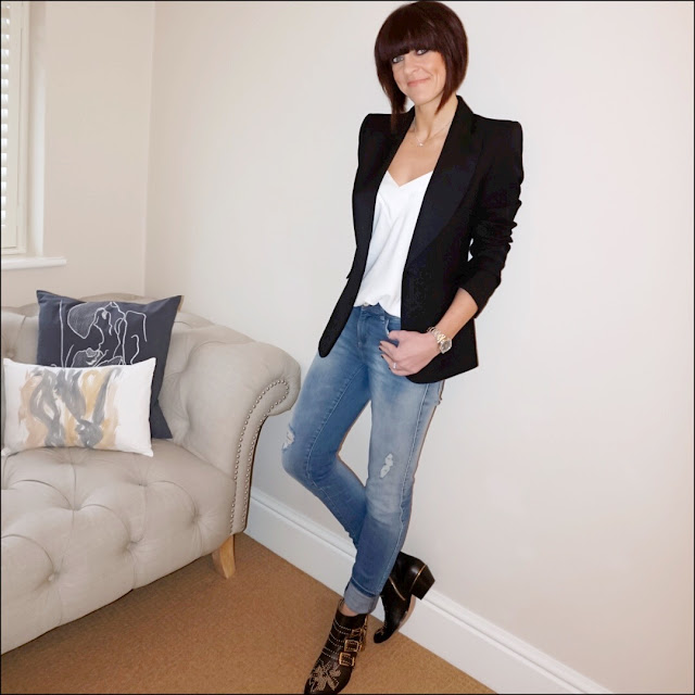 My Midlife Fashion, Zara tuxedo jacket, mango flowy top, zara distressed skinny jeans, chloe susanna studded ankle boots