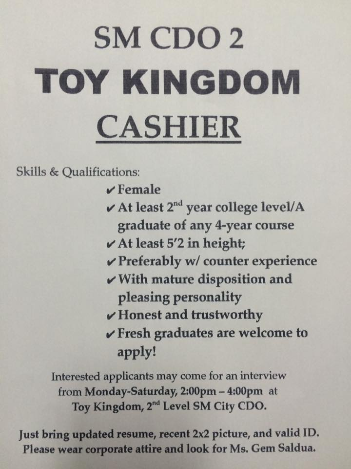 qualifications for a cashier