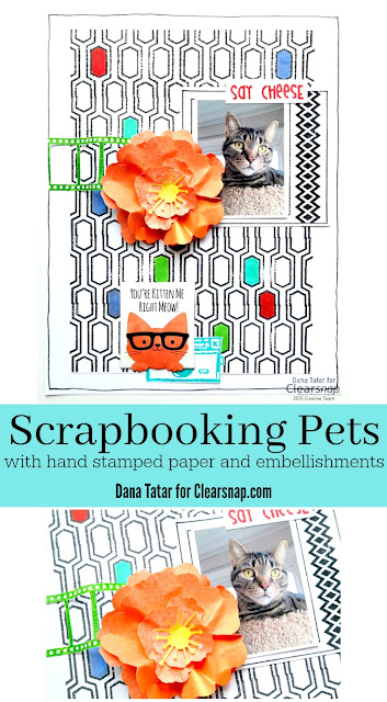 Hand Stamped Cat Scrapbook Page by Dana Tatar for Clearsnap