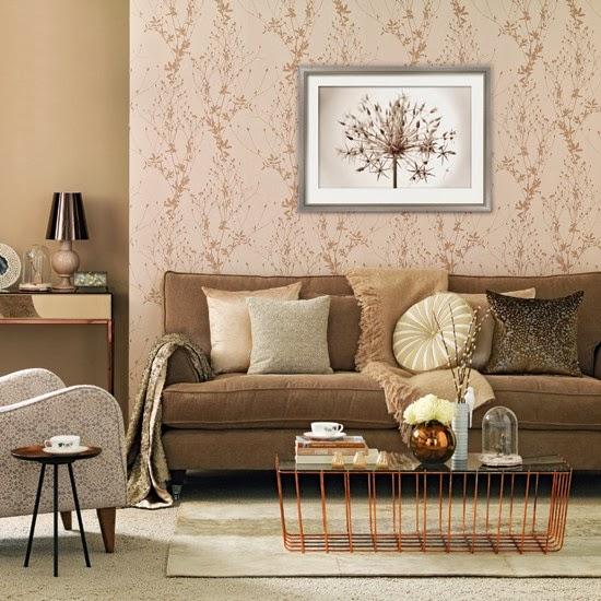 Diseño de sala en marrón y crema