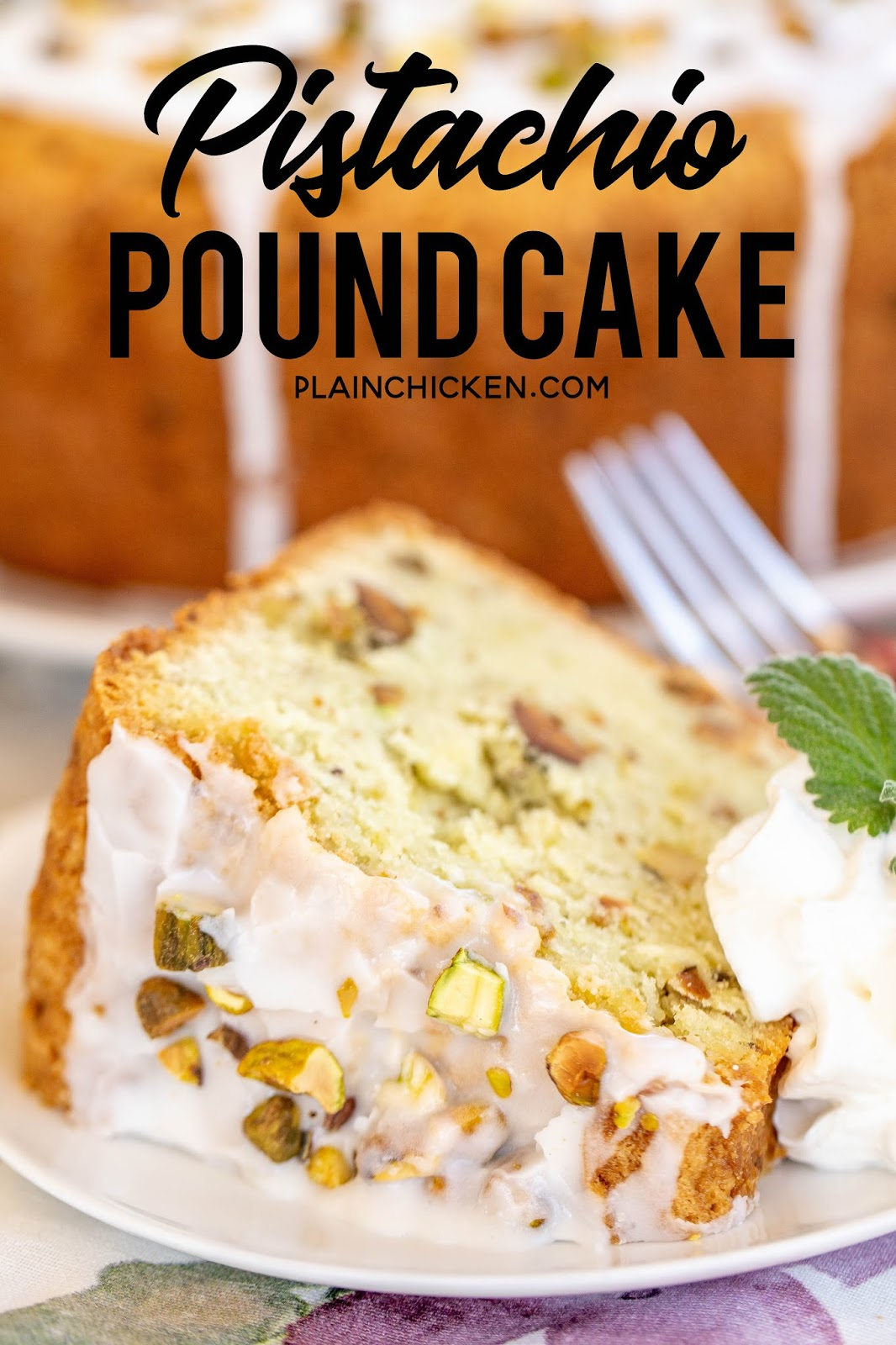 slice of pistachio pound cake on a plate