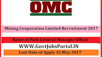 Mining Corporation Limited Recruitment 2017– General Manager