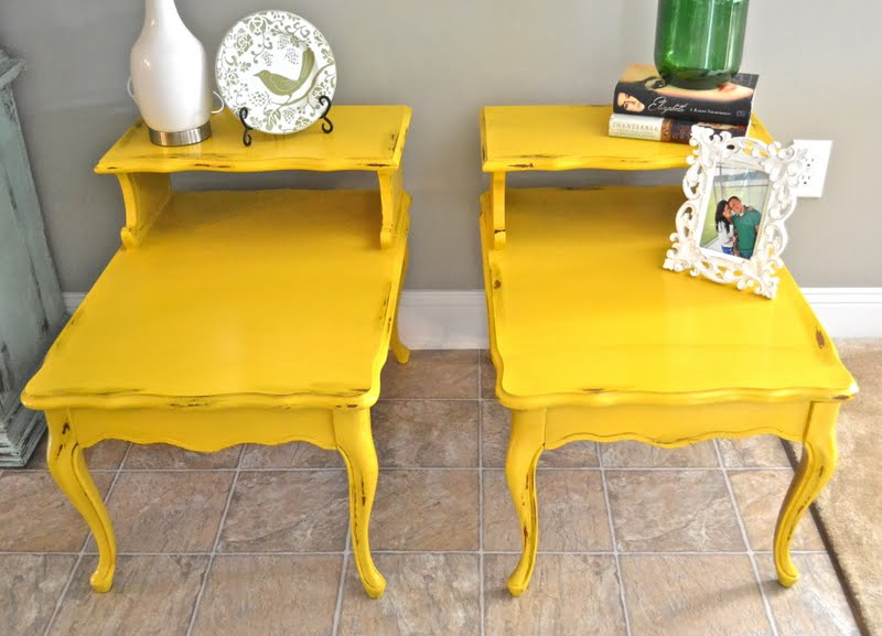 I Felt Like These Retro Styled Tables Needed A Retro Color To Liven Them  Upu2026 I Wish My House Needed Some Yellow Tables, Because I Love The Finished  Product!