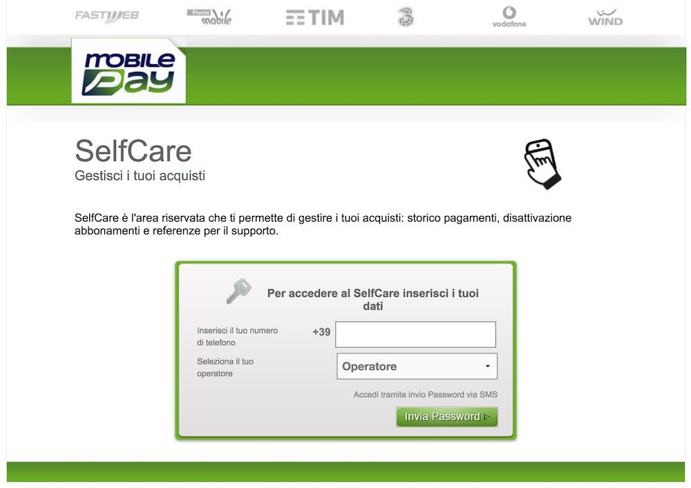 accesso area clienti selfcare di mobilepay per disattivare abbonamento mobile passion