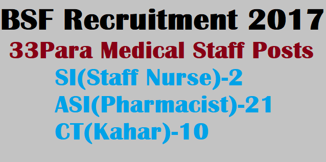 latest jobs, Border Security Force, BSF Paramedical staff Recruitment, Paramedical staff, SI Staff Nurse, ASI Pharmacist, BSF Jobs, Recruitment, AP & TS Notification