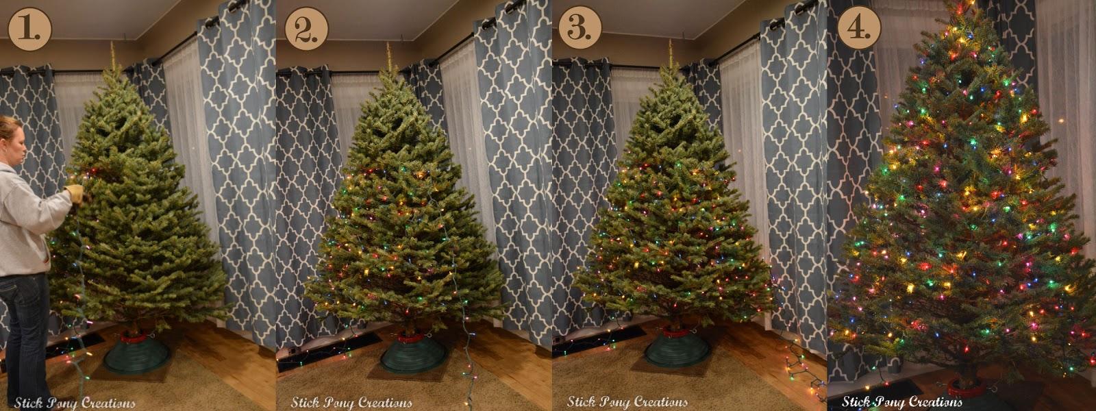 how to put lights on christmas tree uk