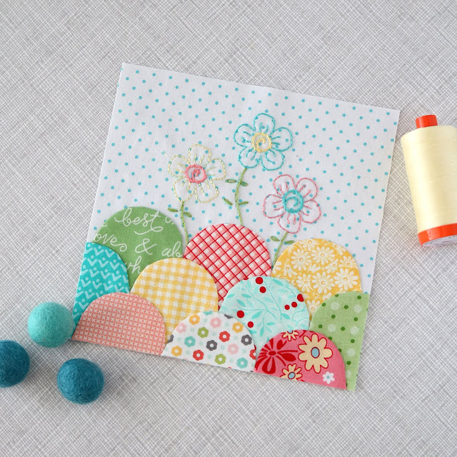 Sweet little clamshell block from the Splendid Sampler stitched by Andy of A Bright Corner