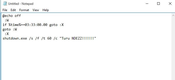 Cara membuat shutdown otomatis dengan membuat file .bat menggunakan notepad