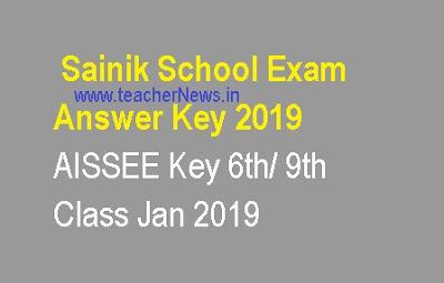 Sainik School Exam Answer Key 2019 - AISSEE Key 6th/ 9th Class Jan 2019