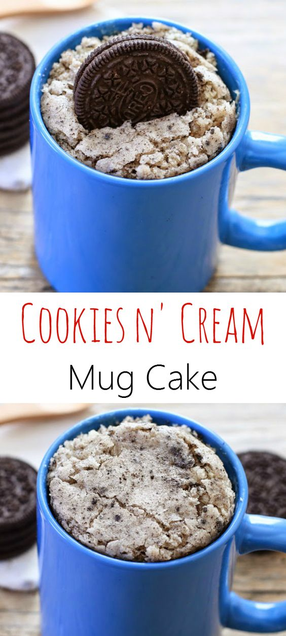 This is a new and improved version of the one I made last year. It took quite a few tries, but I finally created a version that had enough white chocolate and cookies and cream flavor for my 5-Minute Mug Cakes book. I love how every bite is full of Oreo chocolate cookie pieces mixed with Oreo cream.