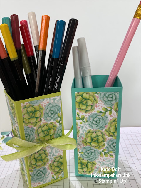 Hand made pen pot with Painted Seasons papers. Kate Bolt. Inkstampshare