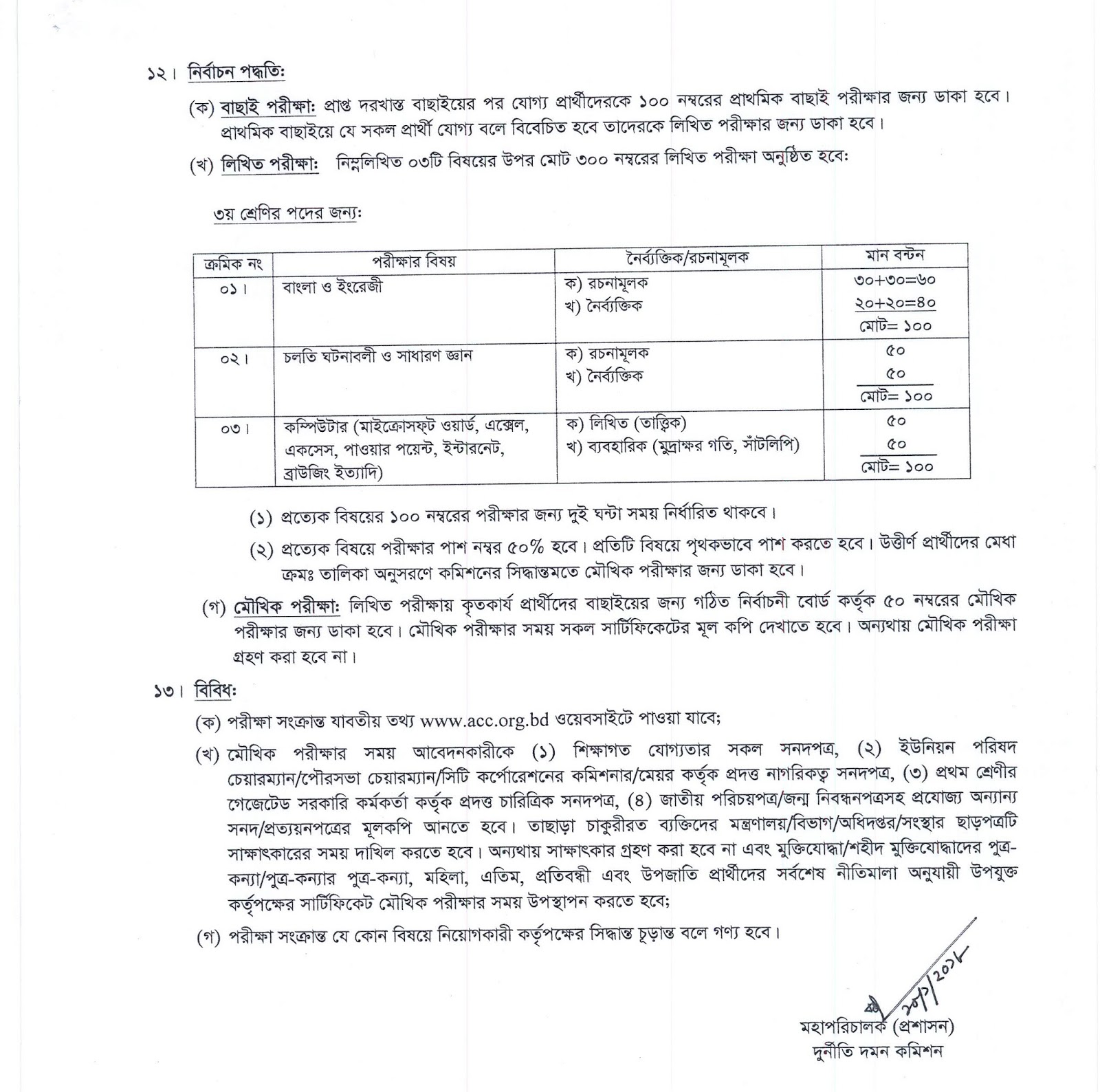 Anti-Corruption Commission (ACC) Job ‍Exam Mark Distribution, Syllabus and Select Process