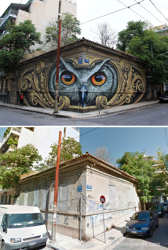 10+ Incredible Before & After Street Art Transformations That'll Make You Say Wow - Knowledge Speaks - Wisdom Listens, Street Art In Athens, Greece
