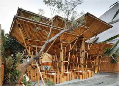 Konsep Sederhana Desain  Warung  Kopi  TRADISIONAL dari  Bambu