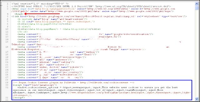 Posisi Letak Kode / Skip Google Cookies pada Template Blog