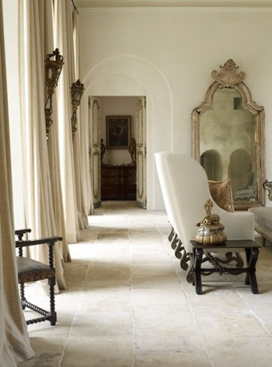Reclaimed stone floor in French inspired room by Eleanor Cummings