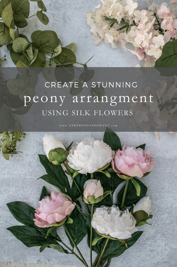 Create a stunning arrangement with faux peonies