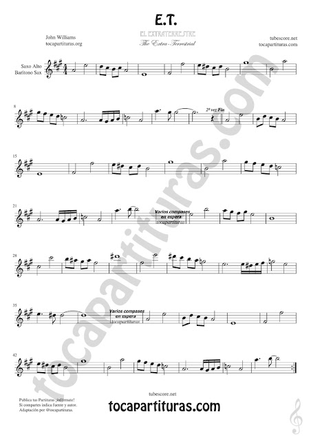Saxofón Alto y Sax Barítono Partitura de ET Sheet Music for Alto and Baritone Saxophone Music Scores