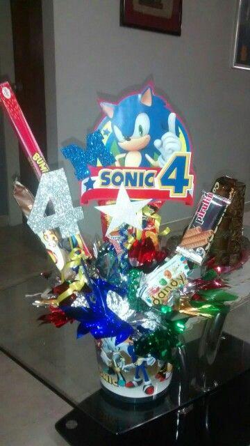 Centro de Mesa para Festa Infantil do Sonic