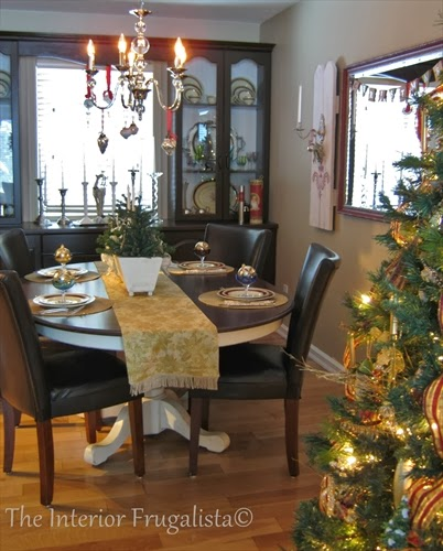 Dining room decorated for the holidays