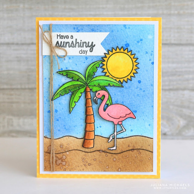 Sunny Studio Stamps: Flamingo Summer card by Juliana Michaels (using Tropical Paradise, Island Getaway & Sunny Sentiments)